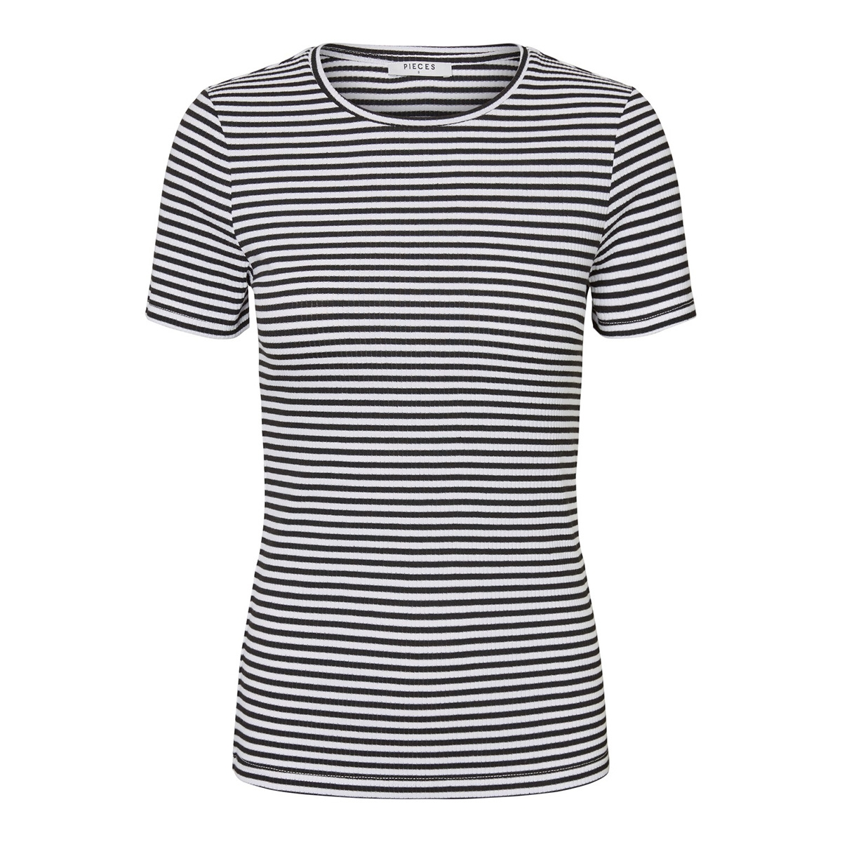 pclana ss top 17092310 pieces t-shirt bright white/black
