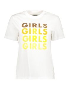 Pieces T-shirt PCBESS SS TEE PB 17094599 Bright White/GIRLS GIRL