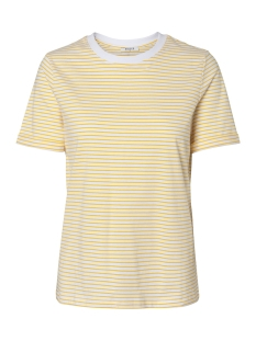 Pieces T-shirt PCRIA SS FOLD UP TEE NOOS  17093747 Bright White/LEMON CHROME