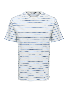 Only & Sons T-shirt onsEDGAR STRIPED SS REG TEE 22012203 Cloud Dancer/ IMPERIAL BLUE