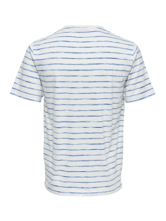 onsedgar striped ss reg tee 22012203 only & sons t-shirt cloud dancer/ imperial blue