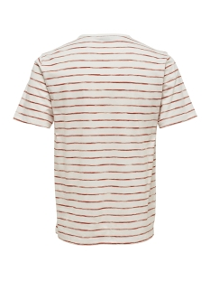 onsedgar striped ss reg tee 22012203 only & sons t-shirt cloud dancer/ roibos tea
