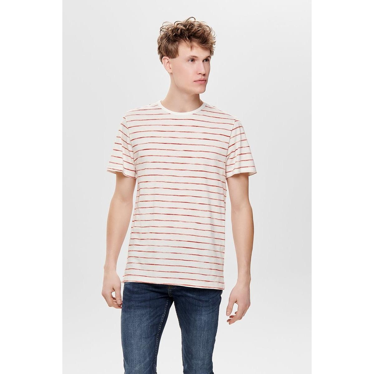 onsedgar striped ss reg tee 22012203 only & sons t-shirt cloud dancer/ roibos tea