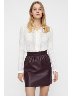 vmastia ls ruffleneck short cardigan 10210543 vero moda vest snow white