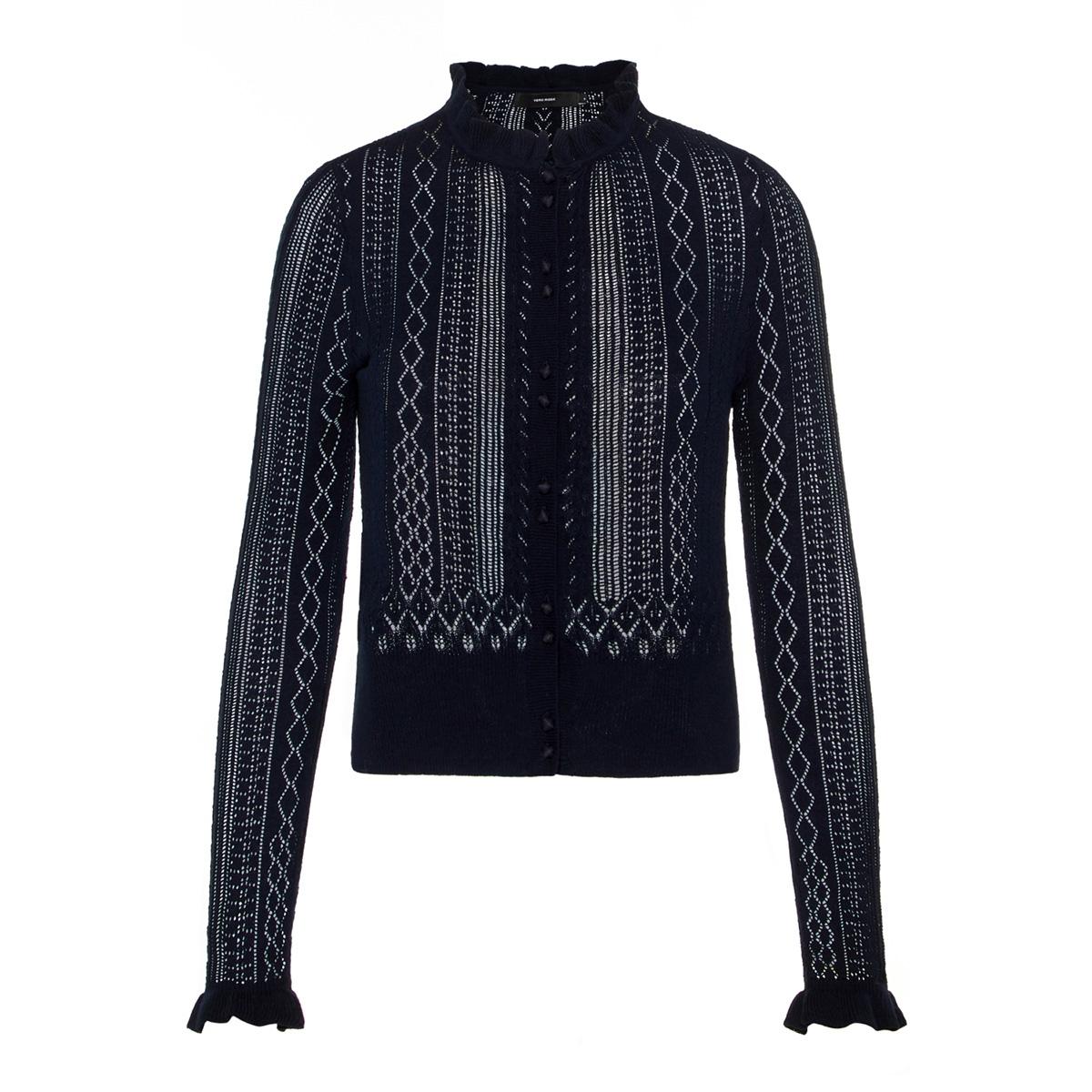 vmastia ls ruffleneck short cardigan 10210543 vero moda vest night sky