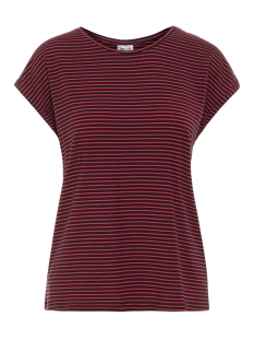 Vero Moda T-shirt VMAVA PLAIN SS TOP STRIPE GA NOOS 10211785 Night Sky/CHINESE RED