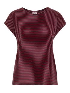 Vero Moda T-shirt VMAVA PLAIN SS TOP STRIPE GA NOOS 10211785 Night Sky/CHINESE RED