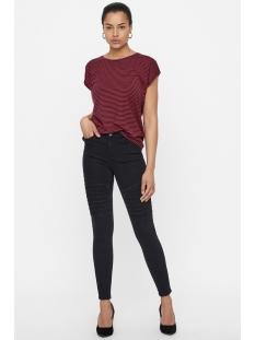 vmava plain ss top stripe ga noos 10211785 vero moda t-shirt night sky/chinese red