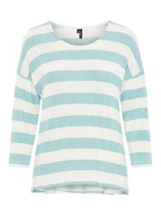 Vero Moda T-shirt VMWIDE STRIPE 3/4 BLOUSE NOOS 10210627 Wasabi/SNOW WHITE