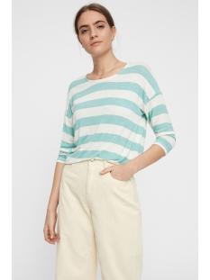 vmwide stripe 3/4 blouse noos 10210627 vero moda t-shirt wasabi/snow white