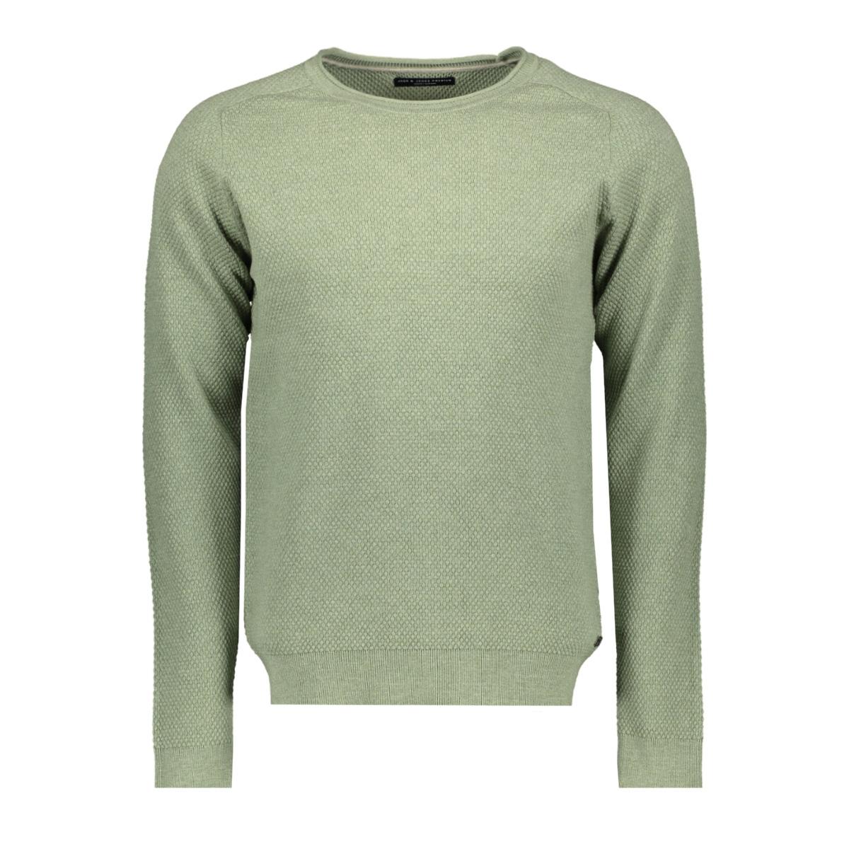jprhardy knit crew neck 12146680 jack & jones trui duck green/ melange