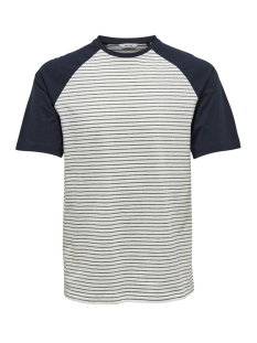 Only & Sons T-shirt onsELIAS JAQUARD SS REG TEE 22012206 Cloud Dancer/NAVY STRIPES