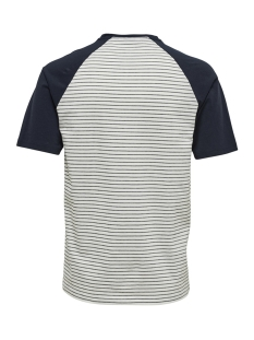 onselias jaquard ss reg tee 22012206 only & sons t-shirt cloud dancer/navy stripes