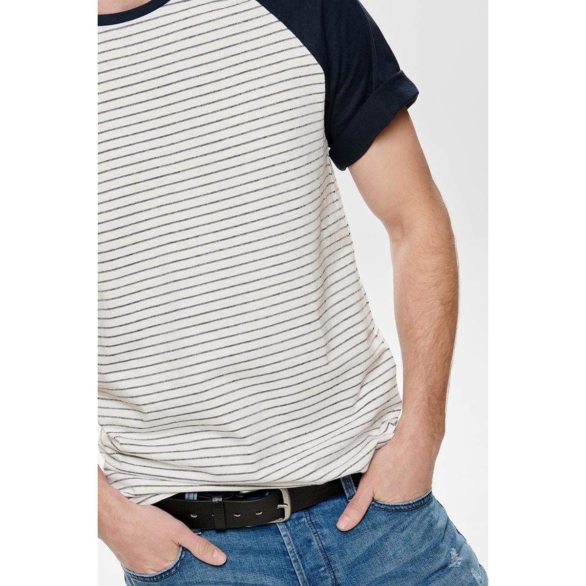 onselias jaquard ss reg tee 22012206 only & sons t-shirt cloud dancer/navy stripes