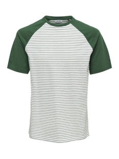Only & Sons T-shirt onsELIAS JAQUARD SS REG TEE 22012206 Cloud Dancer/GREEN STRIPES