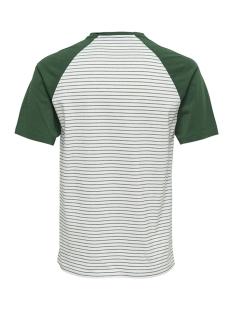 onselias jaquard ss reg tee 22012206 only & sons t-shirt cloud dancer/green stripes