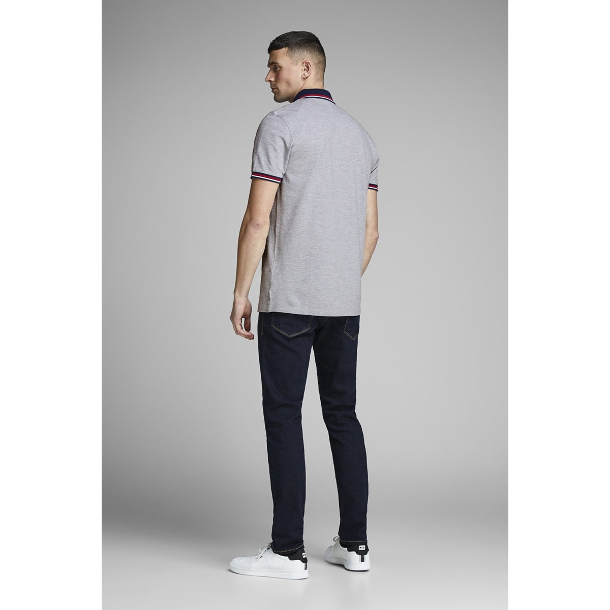 jcochallenge polo ss noos 12145116 jack & jones polo light grey melange/reg