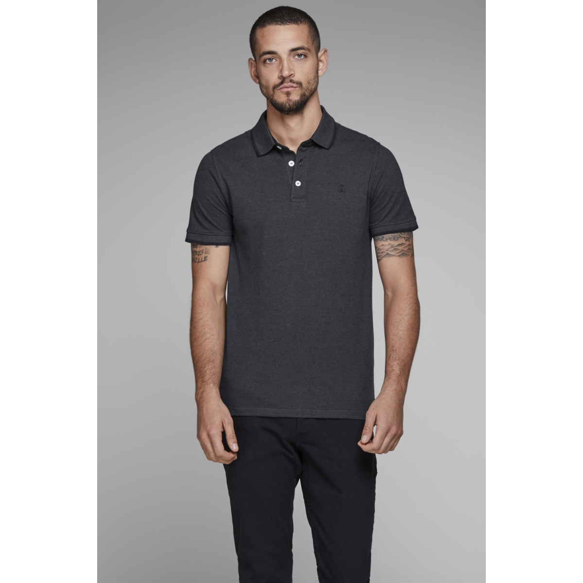 jjepaulos polo ss noos 12136668 jack & jones polo dark grey melange/slim fit