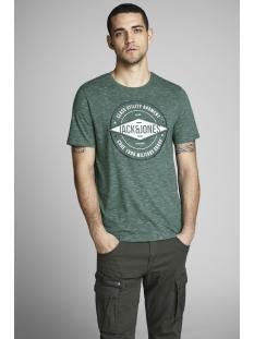 jcofresco tee ss crew neck 12148529 jack & jones t-shirt evergreen/ slim