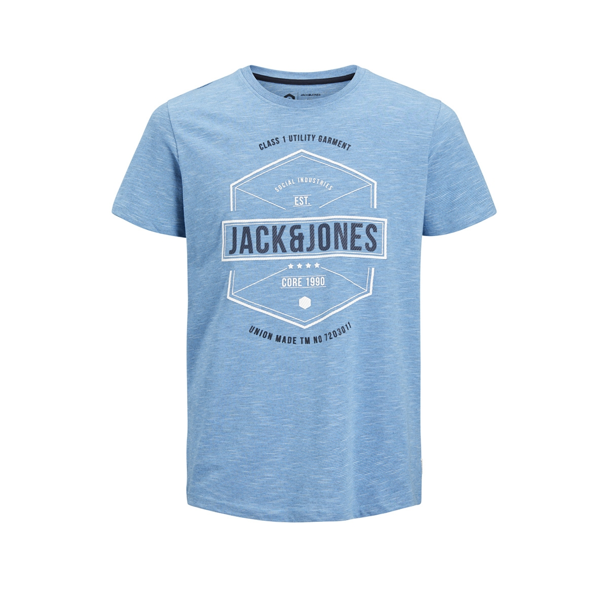 jcofresco tee ss crew neck 12148529 jack & jones t-shirt azure blue/ slim