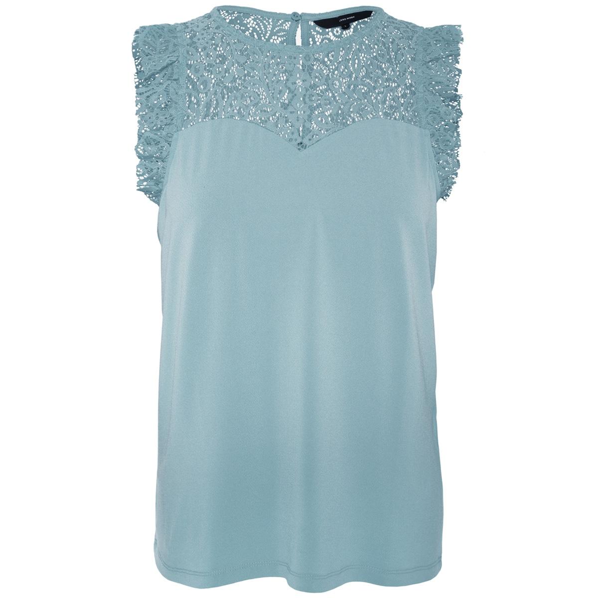 vmalberta sweetheart lace s/l top noos 10196238 vero moda top smoke blue