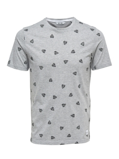 onsepus aop fitted tee ss 22012256 only & sons t-shirt light grey melange
