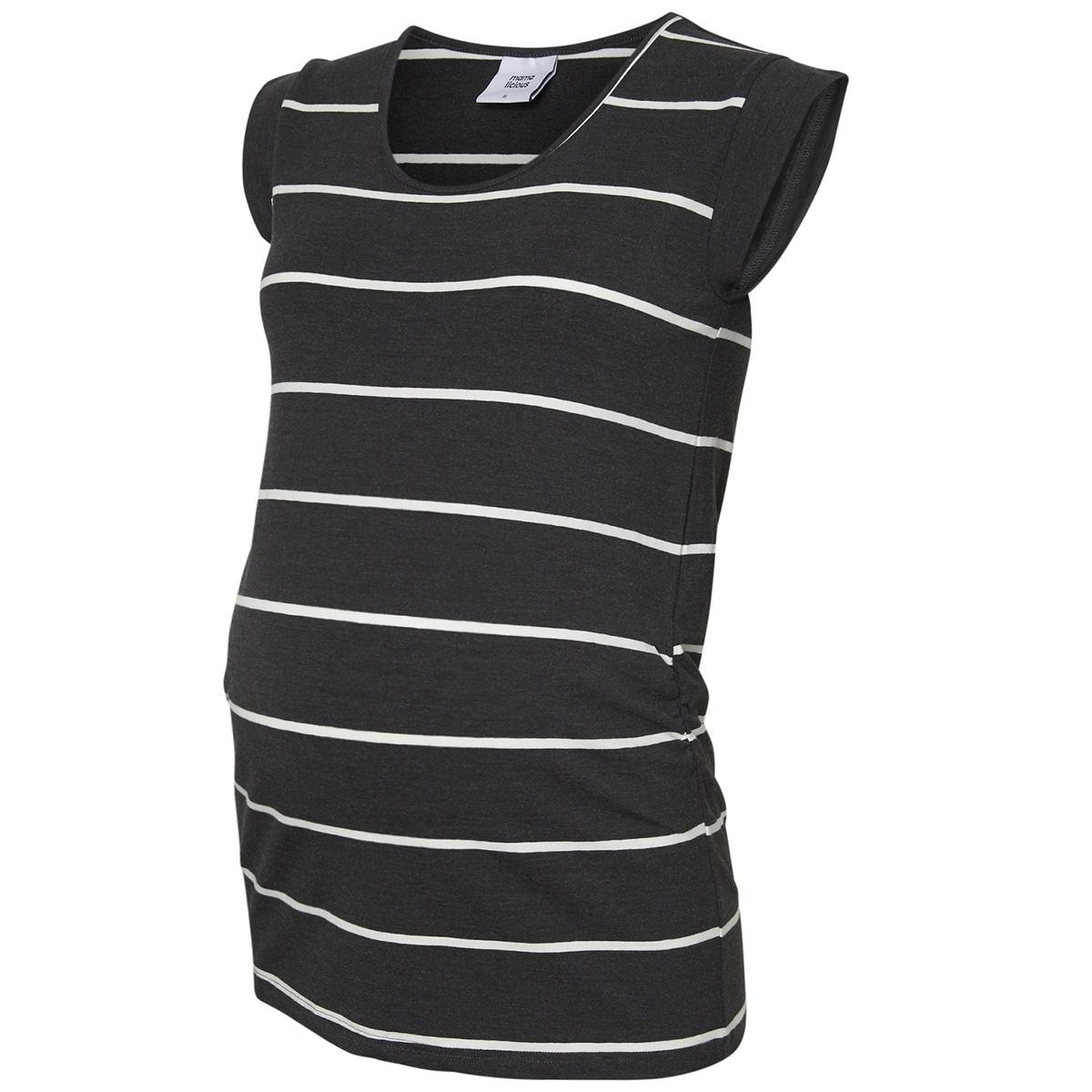 mlally s/s jersey top a. o. noos 20009794 mama-licious positie shirt darrk grey melan/snow white