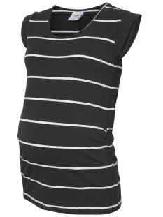Mama-Licious Positie shirt MLALLY S/S JERSEY TOP A. O. NOOS 20009794 Darrk Grey Melan/SNOW WHITE