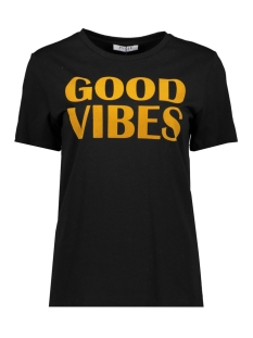 Pieces T-shirt PCVIBES SS TEE D2D 17098959 Black/WITH INCA
