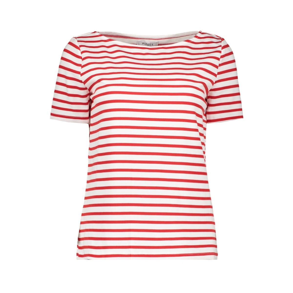 pcingrid ss top noos 17092240 pieces t-shirt bright white/aura orange