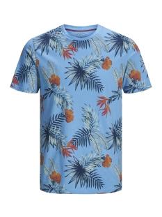Jack & Jones T-shirt JORLEAF FLORAL TEE SS CREW NECK 12148027 Bonnie Blue/SLIM