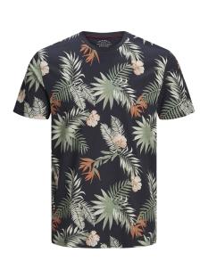 Jack & Jones T-shirt JORLEAF FLORAL TEE SS CREW NECK 12148027 Total Eclipse/SLIM