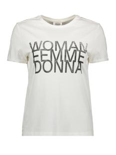 Vero Moda T-shirt VMWOMAN-19 SS O-NECK VMA 10212977 Snow White/BLACK WOMAN