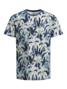 jorcrazy tee ss crew neck 12148893 jack & jones t-shirt ensign blue/slim
