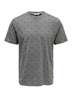 Only & Sons T-shirt onsLANG SS DITSY AOP TEE 22012561 Light Grey Melange