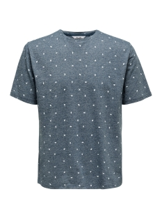 Only & Sons T-shirt onsLANG SS DITSY AOP TEE 22012561 Majolica Blue