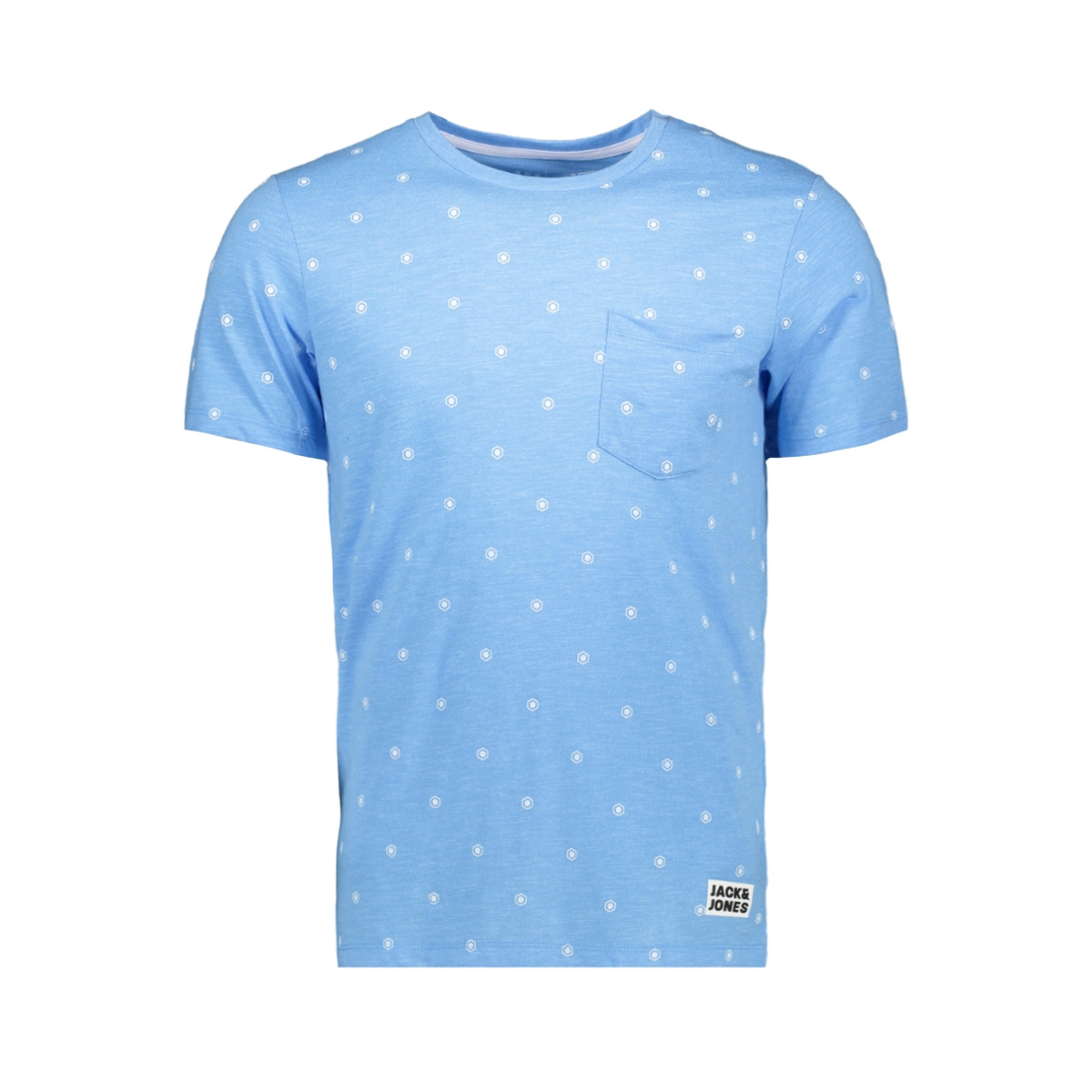 jcocraft tee ss crew neck nl 12154672 jack & jones t-shirt azure blue/slim melange