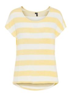 vmwide stripe s/l top noos 10190017 vero moda t-shirt yarrow/snow white