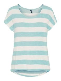 vmwide stripe s/l top noos 10190017 vero moda t-shirt wasabi/snow white