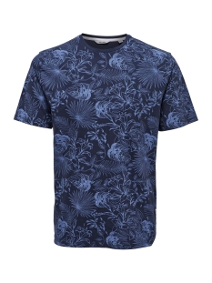 onsemil slub aop reg tee ss 22012258 only & sons t-shirt dress blues