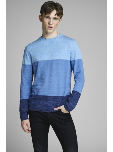 jcosacramento knit crew neck 12151370 jack & jones trui maritime blue/knit fit