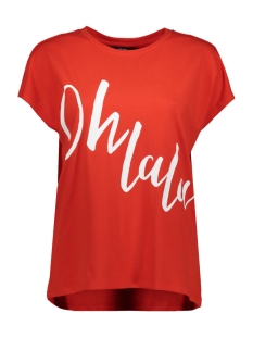 Vero Moda T-shirt VMCLIVE AVA S/S  WIDE TOP BOX GA JR 10214804 Fiery Red/OH LA LA