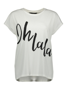 Vero Moda T-shirt VMCLIVE AVA S/S  WIDE TOP BOX GA JR 10214804 Snow White/OH LA LA