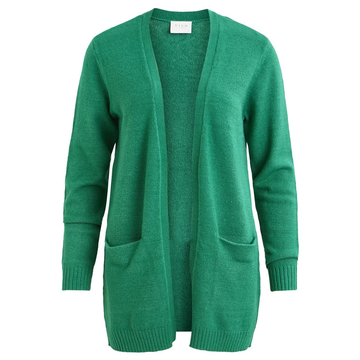 viril l/s  open knit cardigan-fav 14044095 vila vest pepper green/melange