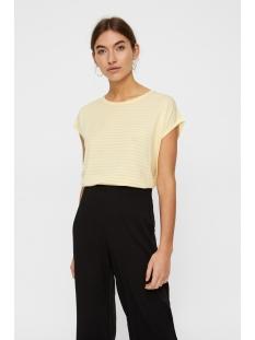 vmava plain ss top stripe ga noos 10211785 vero moda t-shirt mellow yellow/pristine