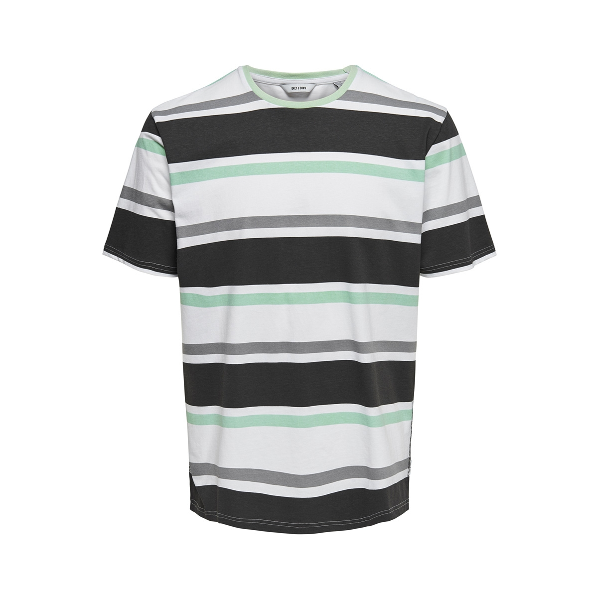 onslex ss reg striped tee 22012625 only & sons t-shirt white/navy/grey/green