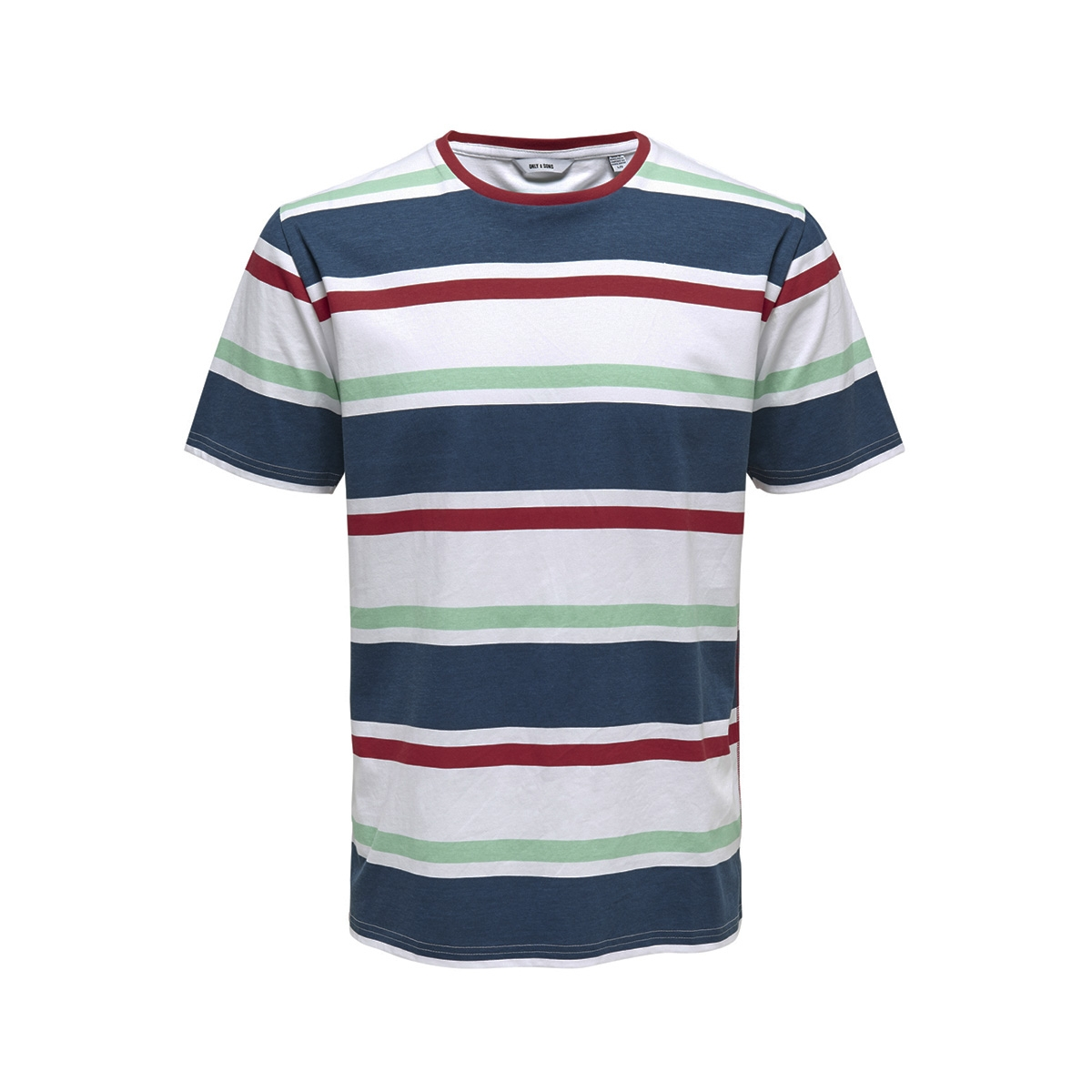 onslex ss reg striped tee 22012625 only & sons t-shirt white/red/navy/green