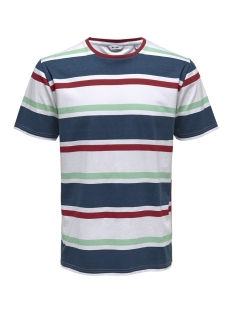 Only & Sons T-shirt onsLEX SS REG STRIPED TEE 22012625 White/RED/NAVY/GREEN