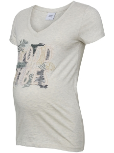 mltropic s/s jersey top a. 20009736 mama-licious positie shirt light grey melange