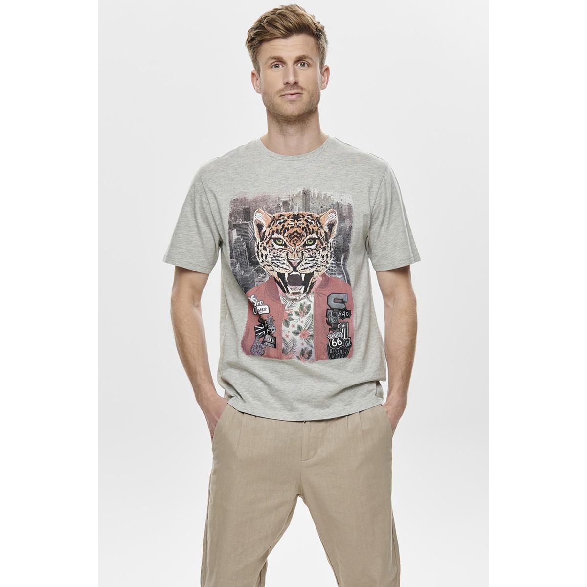 onsloris ss funny tee 22012566 only & sons t-shirt light grey melange